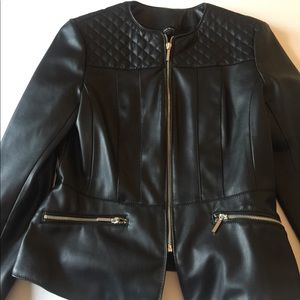 Zara Black Faux Leather Quilted Jacket Size M
